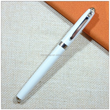 Unique writing white hotel logo rolling metal pen with rhinestone