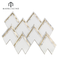 custom VZAG white gold marble brass inlay waterjet mosaic tile