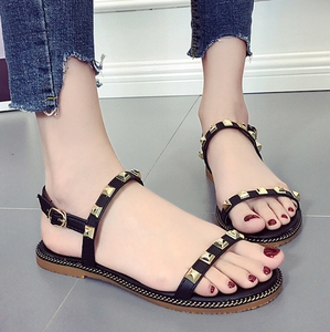 Good quality latest design summer rivet lady flat shoes footwear wholesale women new sandals