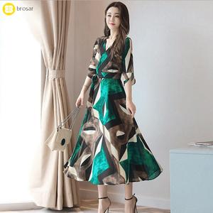 ae30584cac Girl Boho Green Floral Print Dress Women Deep V Neck Sexy Summer Maxi Long  Dresses Vestido