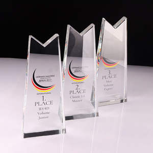 New design glass trophy blanks led trophy design base for award