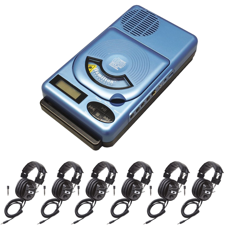 HamiltonBuhl HACX-205 Portable Classroom CD Player w/USB & MP3 & 6 Headphones