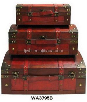 Bon Retro Vintage Decorative Storage Wooden Suitcases