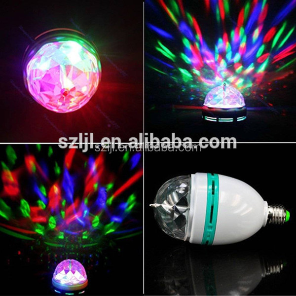 2016 Christmas Children gift 3w e27 rgb led spot light rotating bulb light