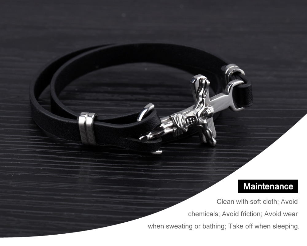 New Product Wrap Black Leather Rope Cross Bracelet For Men