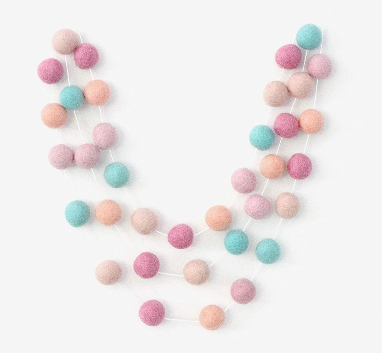 9256c188d Get Quotations · Flamingo Handmade Felt Ball Garland by Sheep Farm Felt, Multicolored  Pom Pom Garland- Aqua