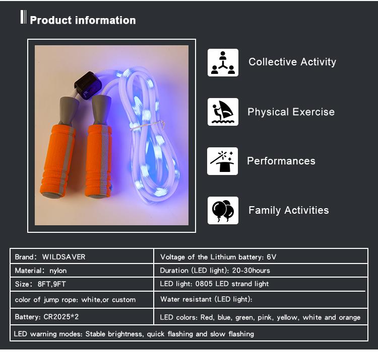 Adjustable Perubahan Light Up LED Kebugaran Lompat Tali dengan Yang Dioperasikan dengan Baterai