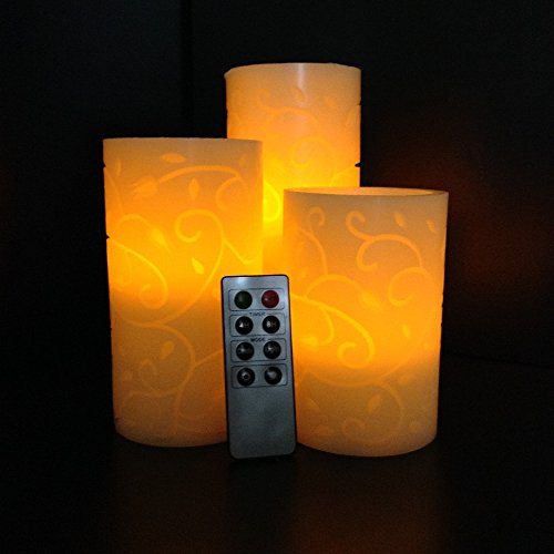"""Coscape Set of 3 Flameless Flickering LED Real Carved Wax Pillar Candles. Vanilla Scent, 8 Key Remote Control with Timer and Dimmer 5""""6""""7"""""""