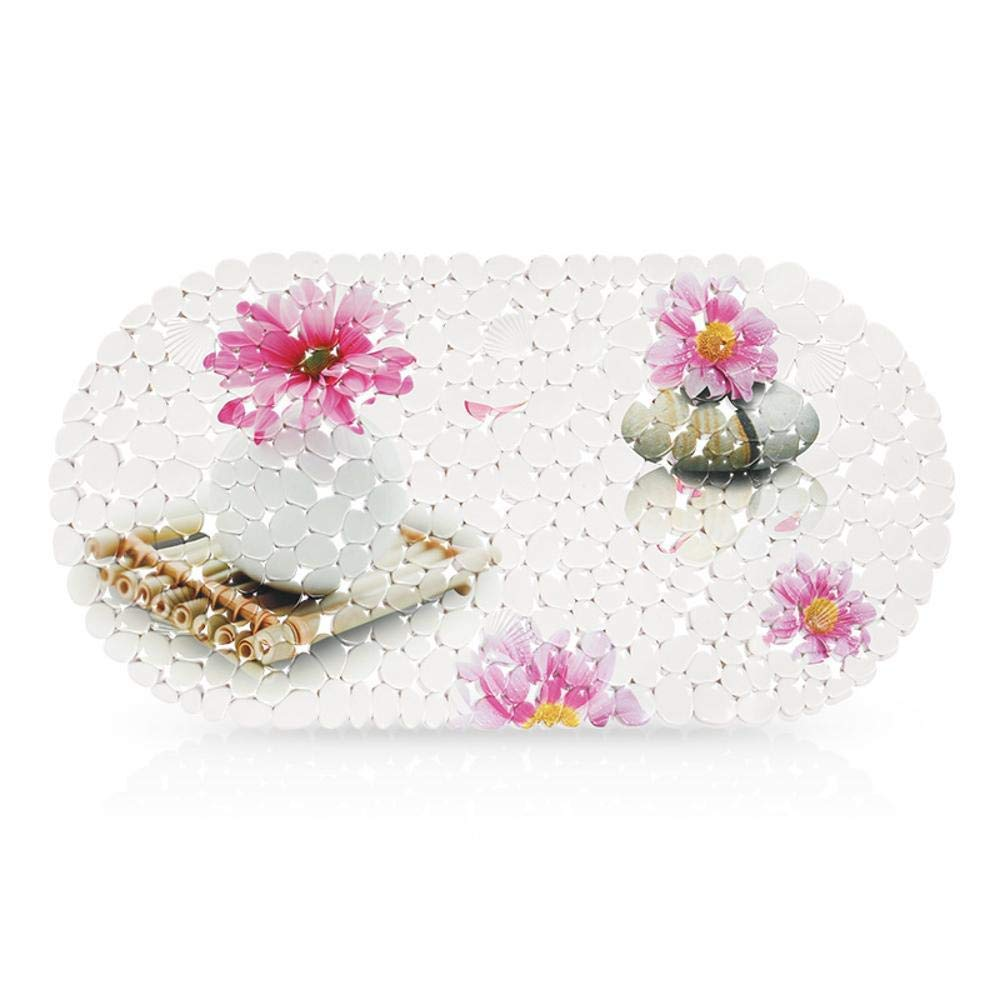 Hjyi Bath mat 69x35cm, Bathroom Non-Slip mat, PVC Sucker Print Bathroom mat