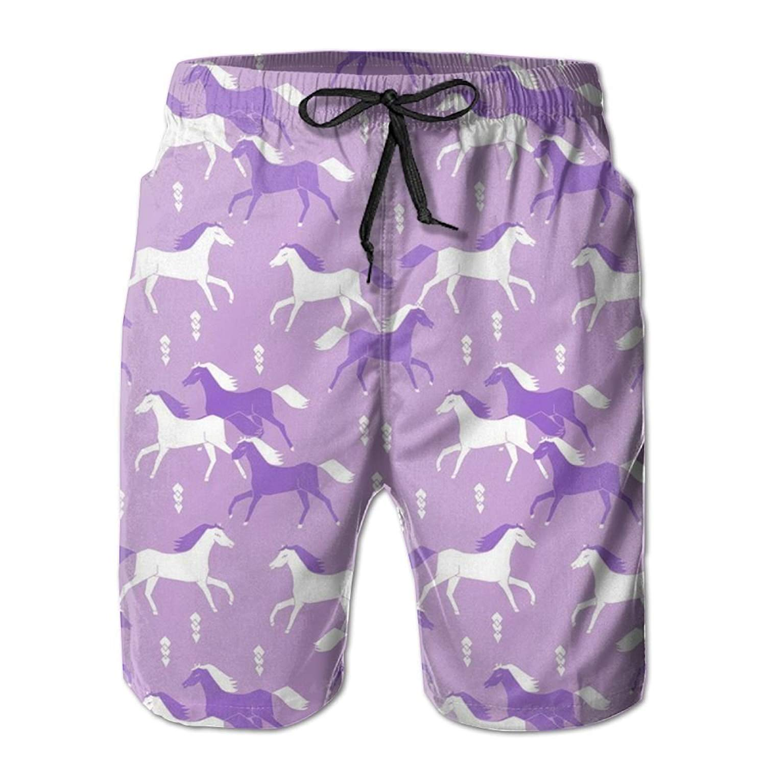 853fa08a47 Get Quotations · Huadduo Horses Purple Men's Swim Boardshorts Quick-Dry  Surf Beach Shorts Casual Sport Trunks.