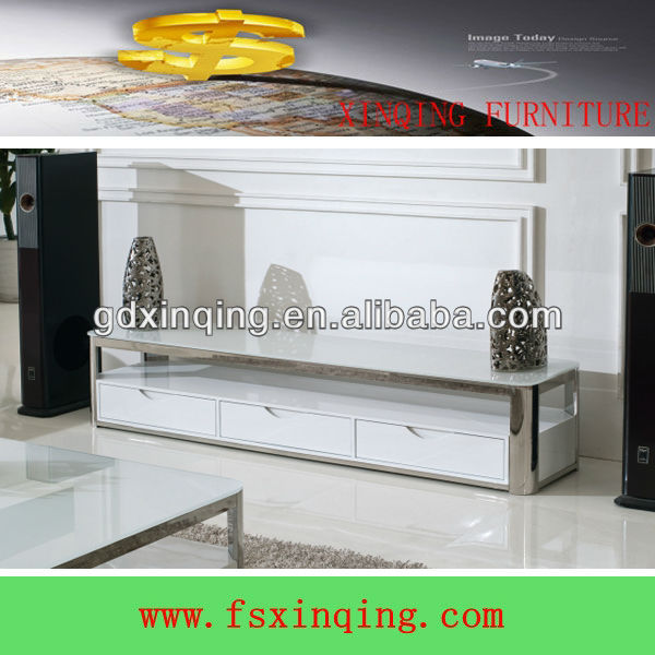 Modern design cheap wooden lcd tv stand high glossy tempered glass top tv cabinet-E356*