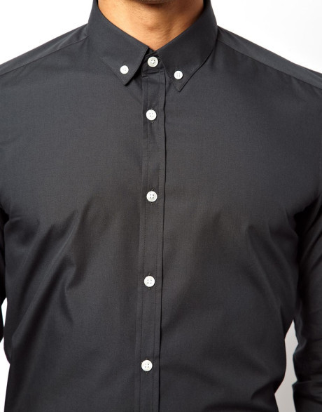Custom Mens Black Button Down Shirt Button Collar - Buy Black ...