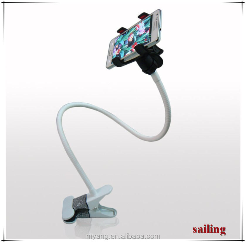Wholesale 360 degree Retractable Metal long neck ,Hand Free lazy bed holder for ipad,Tablet holder phone clip for table
