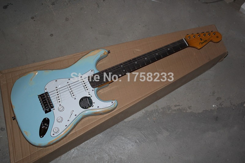 2019 free shipping 2015 new arrival custom guitar f sss distressed stratocaster blue 6 strings. Black Bedroom Furniture Sets. Home Design Ideas