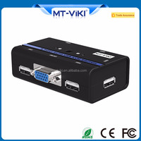 MT-VIKI Plastic 2 port usb2.0 KVM switch with 2 kvm cables and push button for 1 set of keyboard and mouse control 2 PC MT-262KL