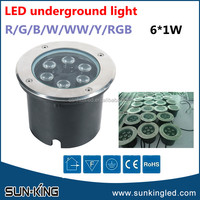 Powerful recessed parking lot 220Volt auto changing color 6W RGB led underground light