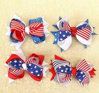 USA Independence Day Children's Bow Hair Clip 4 Piece One Set Holiday Gift hair accessories