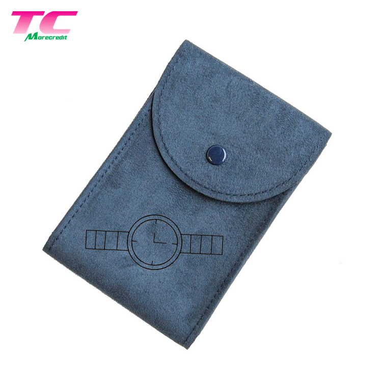 Custom Design Durable Envelope Style Flap Small Earphones Storage Pouch Bag With Button Closure