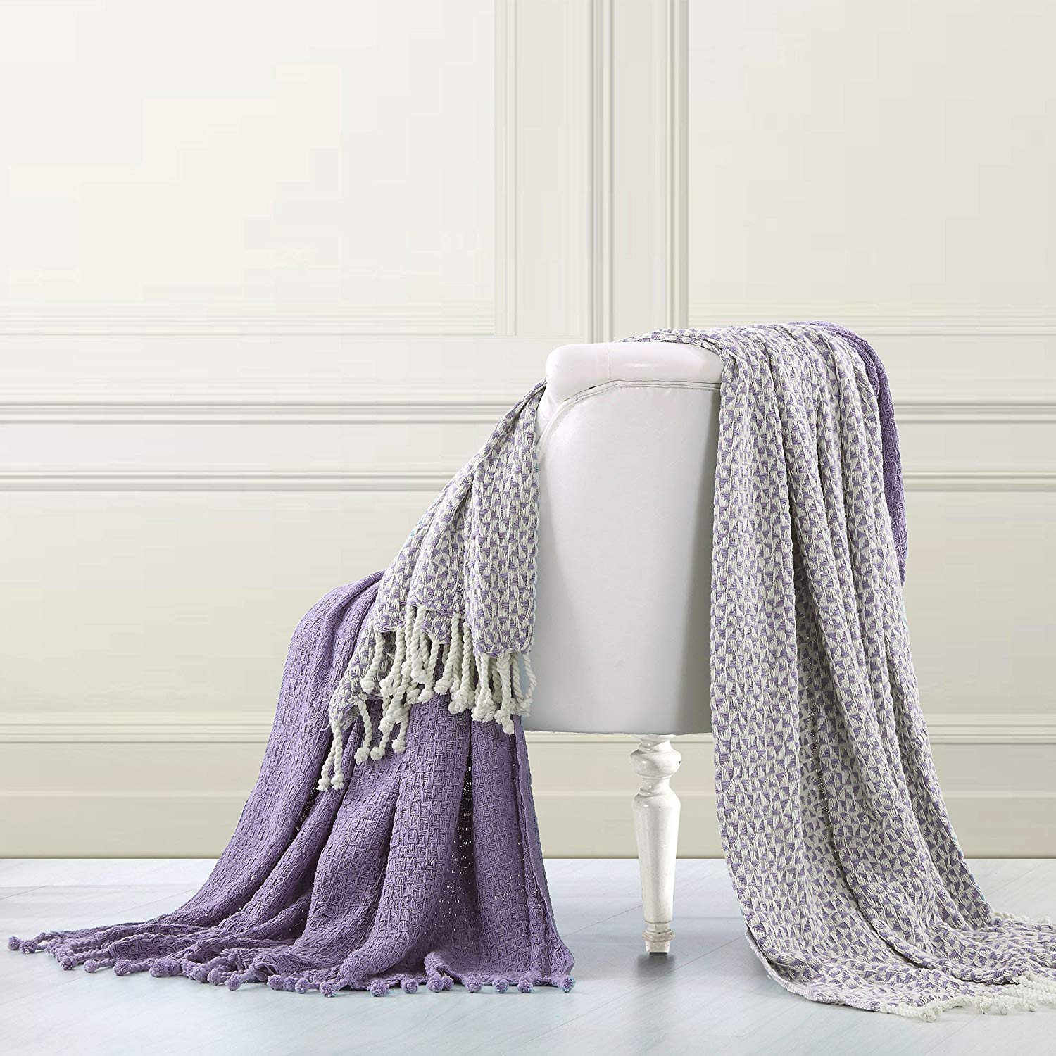 2 Piece 50 x 60 Inches Lavender Throw Blankets, French Country, Modern, Shabby Chic Style, Tasseled Ends, Solid, Reversible & Geometric Picasso Design, 100% Woven Cotton, Machine Washable