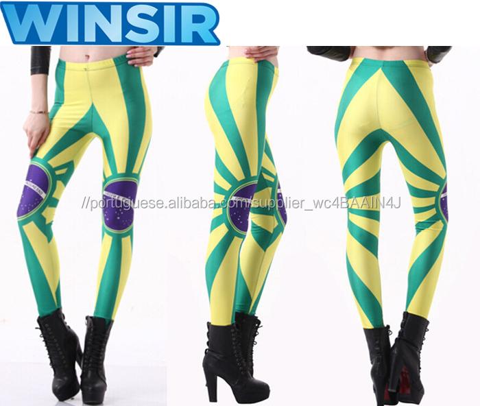 4002366e4 Calça Legging Sem Costura Skinny Cintura Alta Moda Feminina Estampa  Bandeira Brasileira OEM Suplex Baladas
