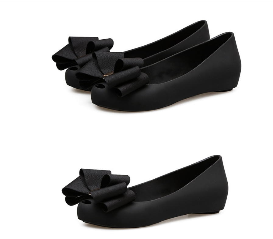 wholesale black Bow jelly shoes women flat plastic jelly shoes women