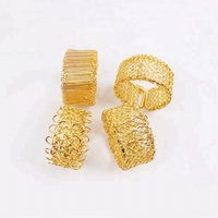 Hollow Out Gold Round Mesh Napkin Ring Napkin Holders Wholesale