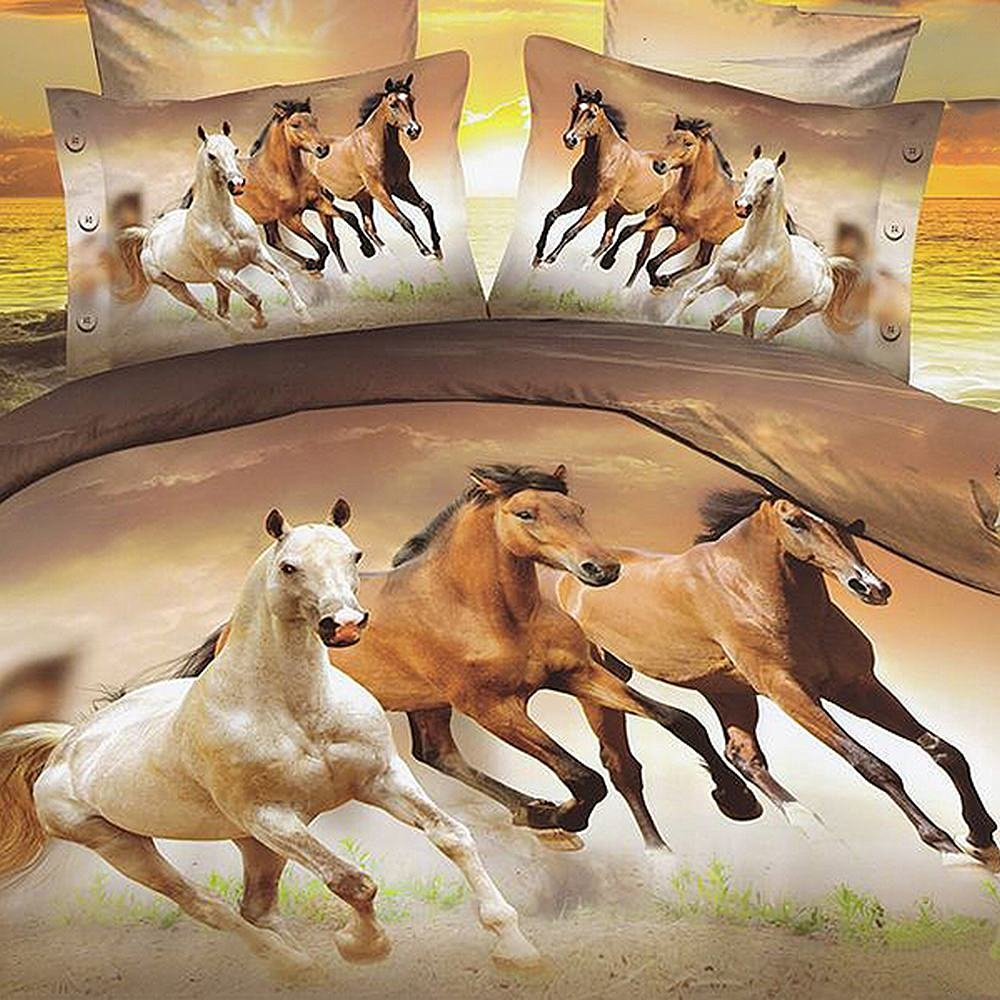 Alicemall King Size 3D Horse Bedding Set 4 Piece Galloping Horses Polyester Duvet Cover Sets, 4 PCS Brown Color Horse Bedding, No Comforter (King)