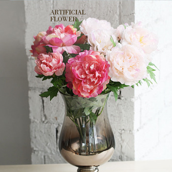 Peony artificial artificial flower bouquet large silk peony flowers peony artificial artificial flower bouquet large silk peony flowers bunch bouquet with 5big heads in mightylinksfo