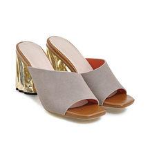 Летние женские шлепанцы Meotina, модные туфли на очень высоком каблуке с открытым носком, большие размеры 33-43(Китай)