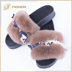 raw materials for rubber slide women wholesale all kinds of Rex Rabbit Fur slippers