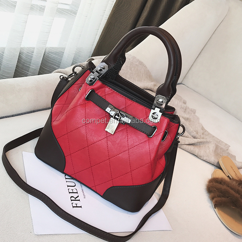 Lock buckle bucket bag leisure handbag single shoulder crossbody bag