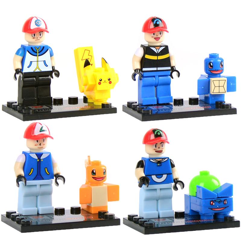 4 pcs lot Pokemon minifigures building blocks action figures bricks Pikachu Charmander Bulbasaur Squirtle ketchum kids
