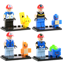 4 pcs/lot Pokemon minifigures building blocks action figures bricks Pikachu Charmander Bulbasaur Squirtle ketchum kids toys gift