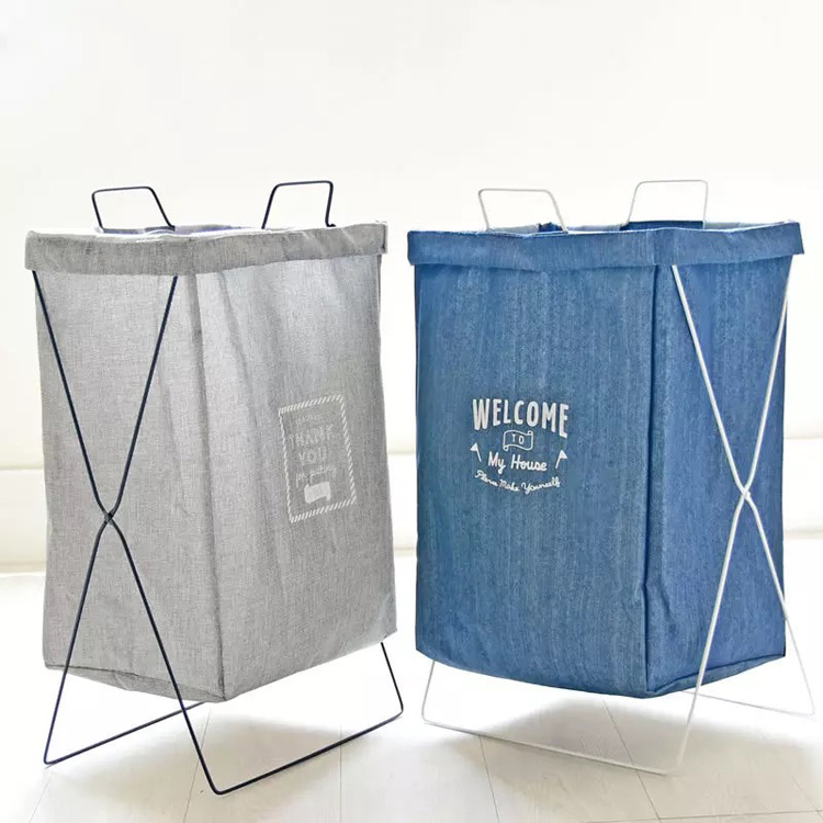 Hot selling 2 compartiment wasmand sorter vouwen X aluminium frame wasmand opvouwbare wasmand