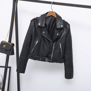 Women's Motocycle Motocross Faux Leather Jackets, Slim Fit Rider Jackets Retro Lapel Zipper Coat for Winter Casual Short Jacket
