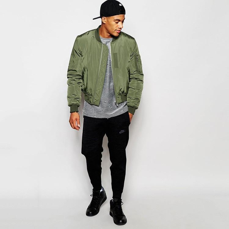 Cropped Bomber Jacket In Green Bomber Jacket Men Wholesale - Buy ...