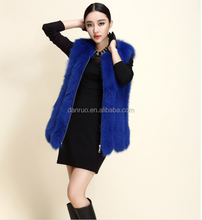 High quality winter women's leather coat Graceful long fox fur gilet fur vest