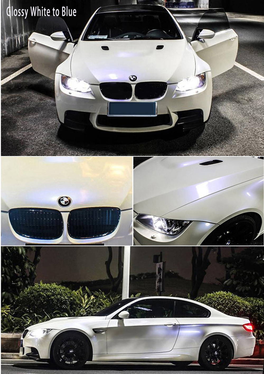 Metallic Pearl White To Purple Glossy Matte Bubble Free Car Wrap