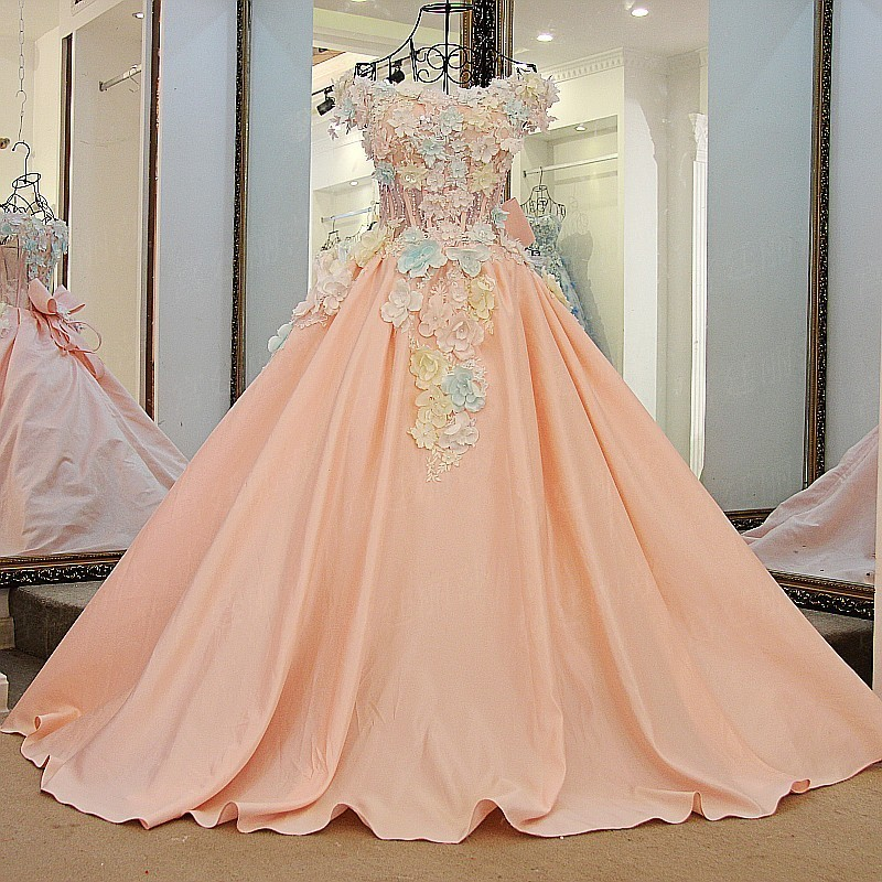 Ls64710 Pink Cheap Elegant Flower Applique Pattern With Bow Satin ...