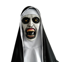 Hot The Nun Cosplay Mask Latex Terror Halloween Mask With Hood