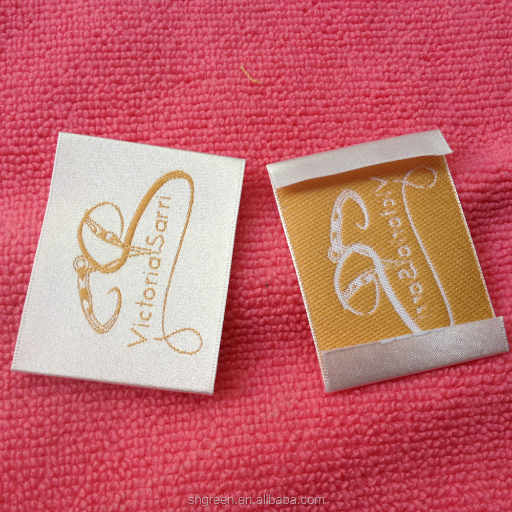 white satin woven label,satin garment label with gold thread logo