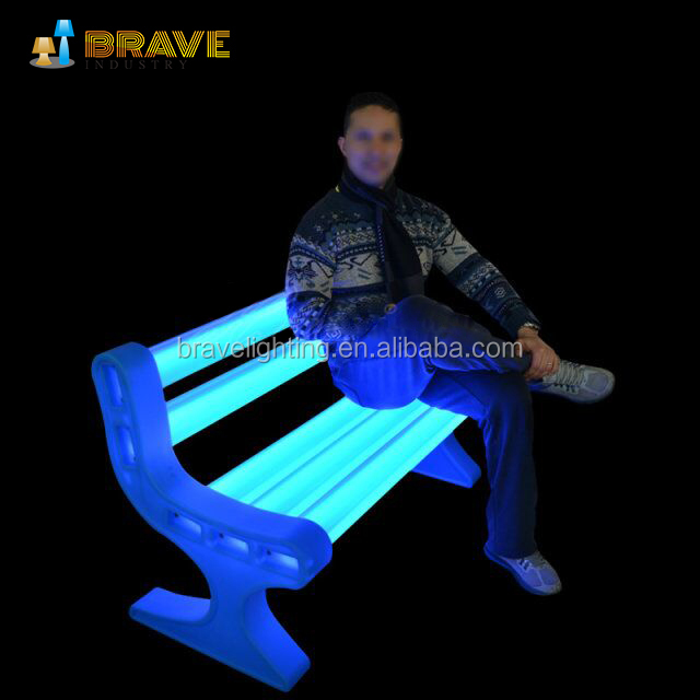 16 colors plastic illuminated led furniture outdoor bench garden chairs