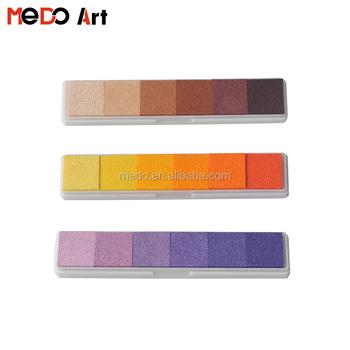 Multi Colors Strip Children Ink Washable Sponge Stamp Kit