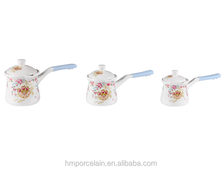 Wholesale Turkish Coffee Set Cheap Ceramic Arabic Style Set of 3 Coffee Pan with Lid and Silicone Handle Printed Flower