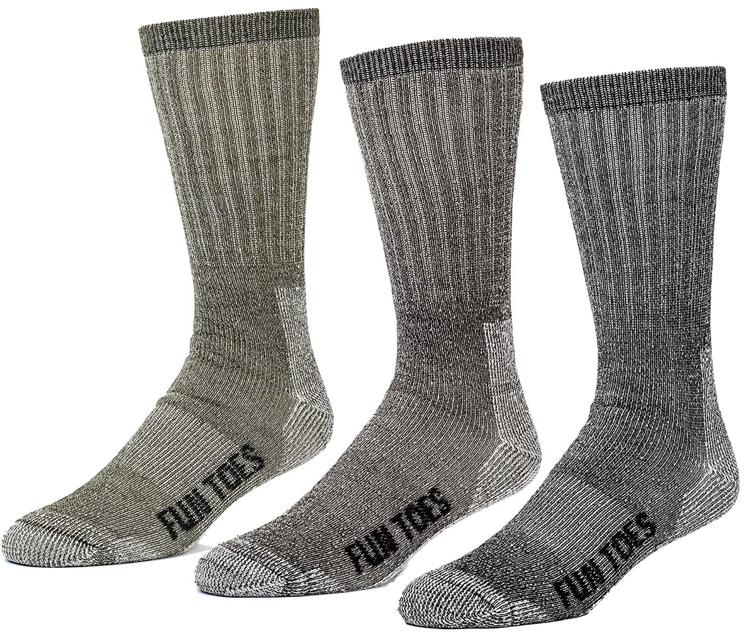 f83652a9a58b Get Quotations · FUN TOES 3 pairs thermal insulated 80% merino wool socks  men s