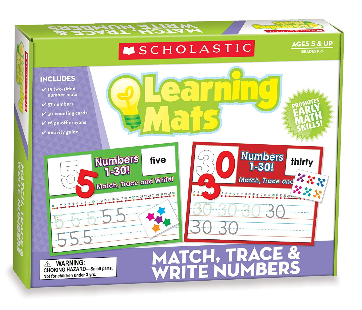 Scholastic Teacher's Friend Match, Trace & Write Numbers Learning Mats, Multiple Colors (TF7108)