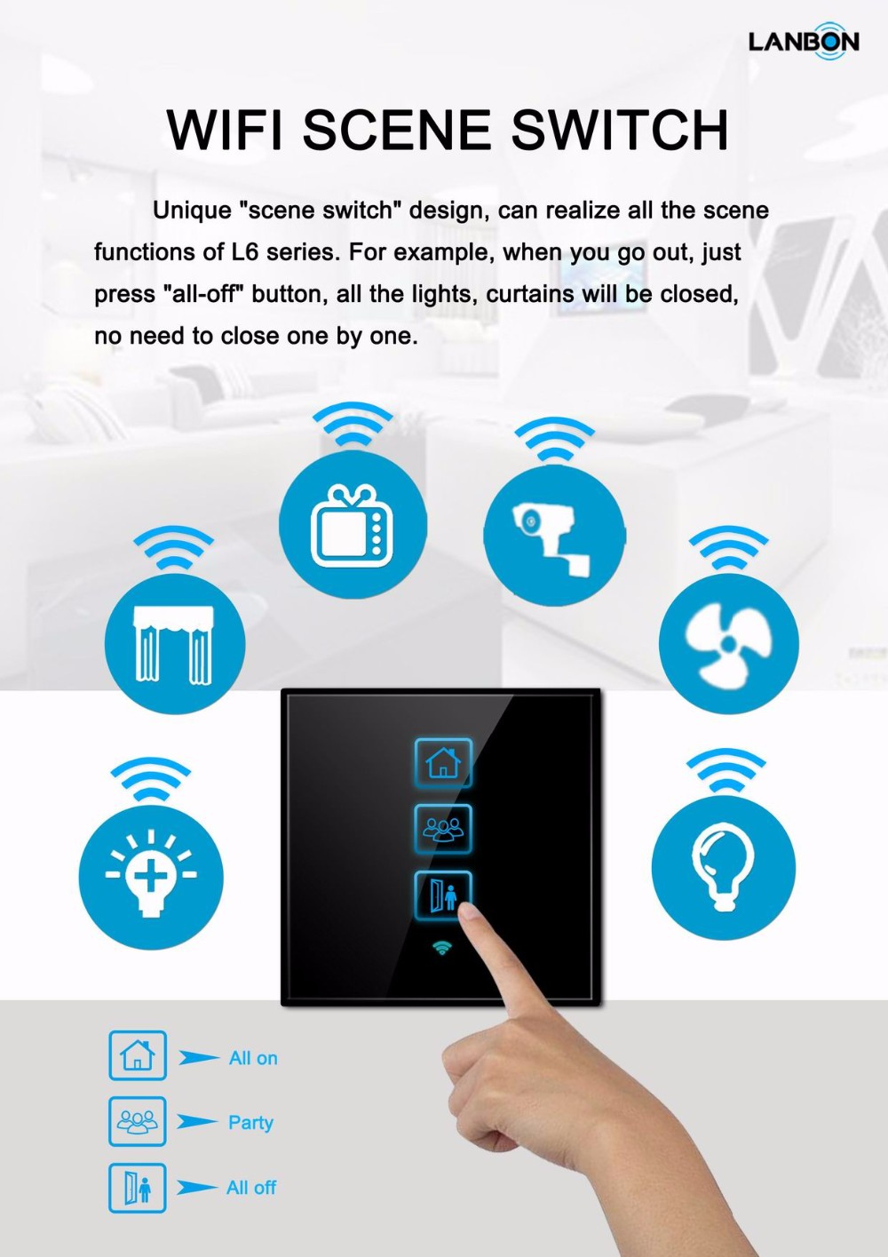 Lanbon Wifi Smart Home Touch Scene Switch Control All On Off By One