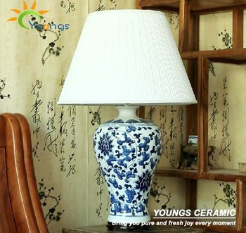 Antique Blue And White Ceramic Porcelain Table Lamp For Hotel Made In  Jingdezhen