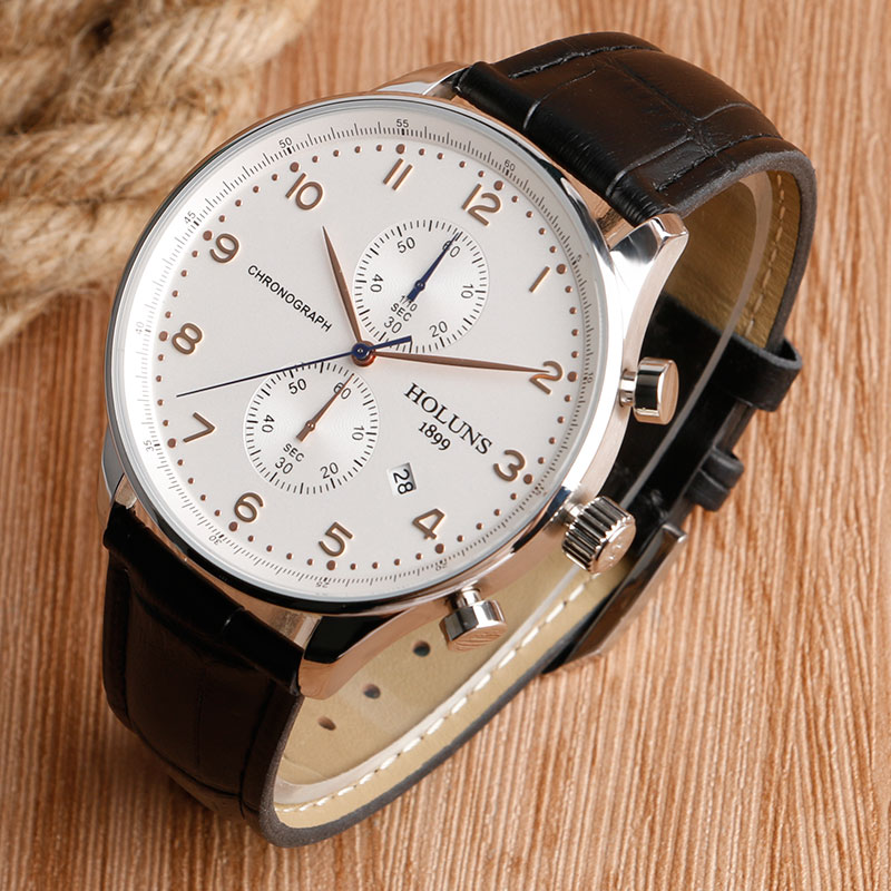 HOLUNS Original Mens Watches Luxury Brand Chronograph Men's Business Casual Leather Dress Calender Hour Clock Relogio Masculino 2017 2018 Best Gifts for Dad HIM (35)