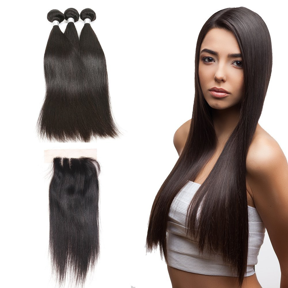 7A Mink Brazillian Straight Hair With Closure Brazilian Virgin Hair With Closure 3/4 Bundles Straight Brazilian Hair With Closure 100% Remy Virgin Hair (16 18 20 +Lace Closure 14, Middle Part)